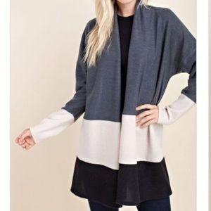 Sweaters - Color block high neck cardigan